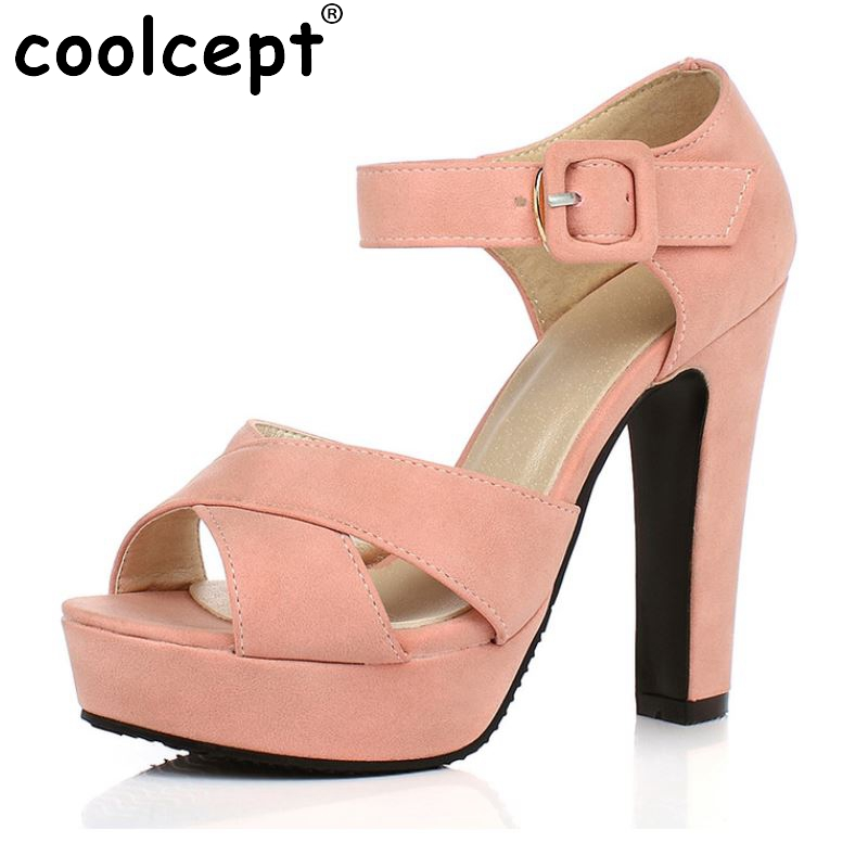 Peep Toe Ankle Strap Thick High Heel Sandals Platform Ladies Shoes Women Brand Dress Footwear Sandal Mujer size 32-43 PA00665 women sandals new summer peep toe ankle strap thick high heel sandals platform high quality casual fashion shoes size 31 43