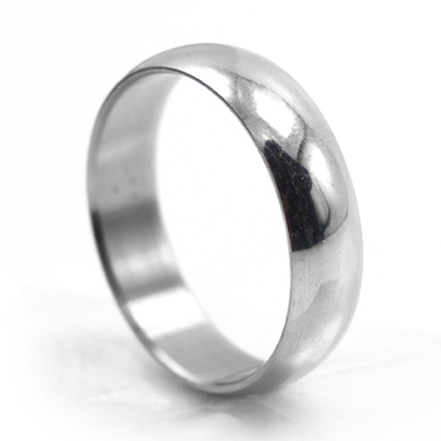 Free Shipping Wide 6mm Simple Silver Ring Arc Stainless