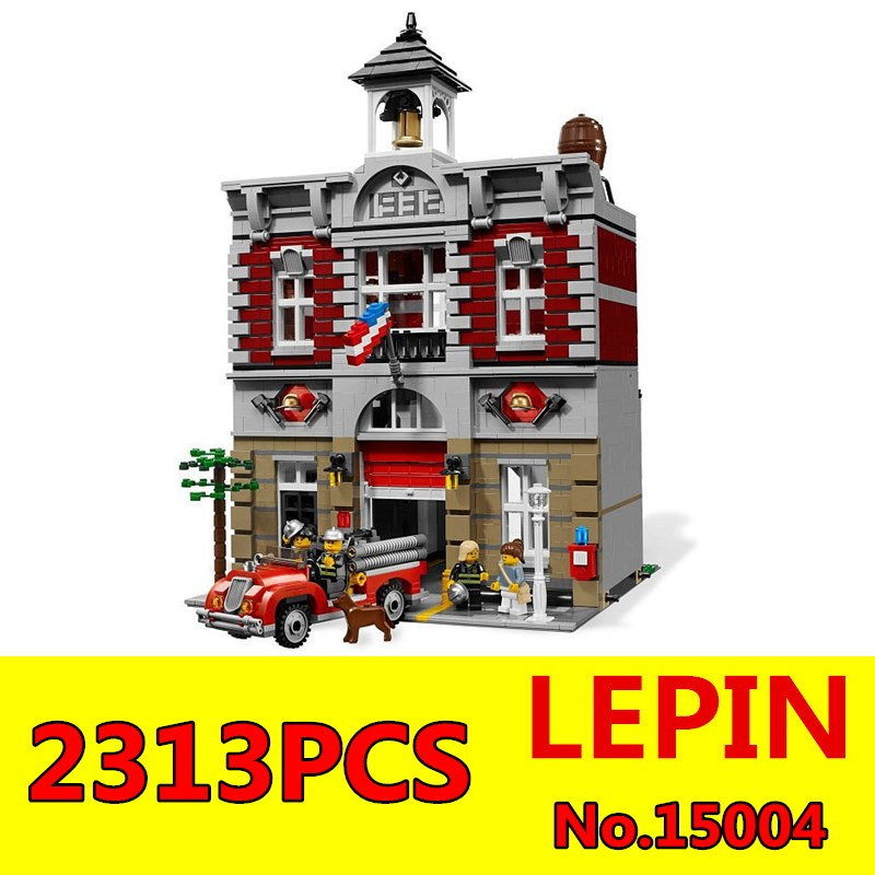 ФОТО City Creator Fire Brigade Model LEPIN 15004 2313Pcs Building Kits figures Blocks Bricks Compatible Toys for Children Gift 10197
