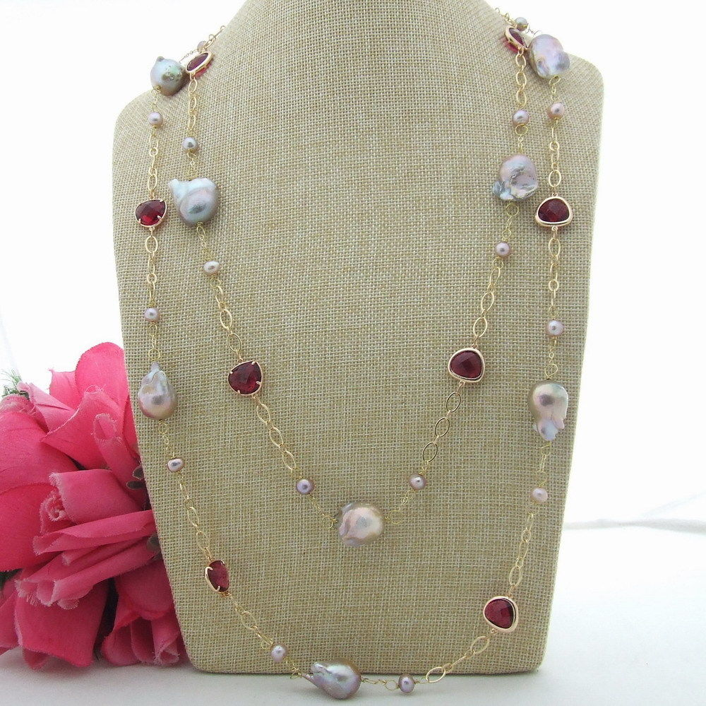 """FC122701 63"""" 22MM Purple Keshi Pearl Red Crystal Necklace"""