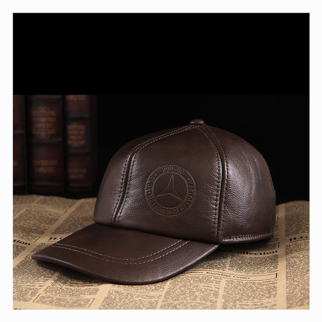 Male genuine leather hat male baseball cap autumn and winter outdoor elderly cattle leather hat  B-0572