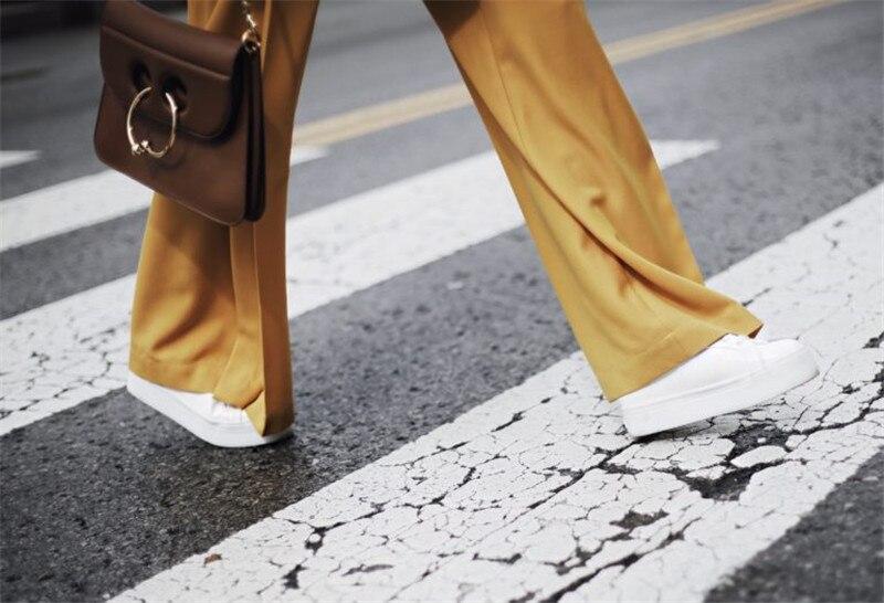Large Costume Sentir Yellow Palazzo Satin Pièces Taille Copain Jambe Femmes Lâche Long 2 Blazers 2018 Ol Manteau Pantalon Automne Lsysag Haute U4Extwx