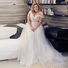 Elegant Plus Size Wedding Dresses Off The Shoulder V-Neck Appliques Lace Tulle Wedding Gowns Bride Dress Free Shipping