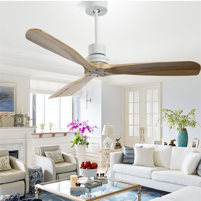 Nordic style vintage ceiling fan wood without light - Dining room ceiling fan ...