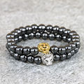 8MM Black Hematite Beaded Gold/Silver Lion Charm Hand Bracelet For Men and Women Gift Jewelry
