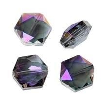 Perles en verre amples hexagonales violettes AB, transparentes à facettes d'environ 15mm(5/8