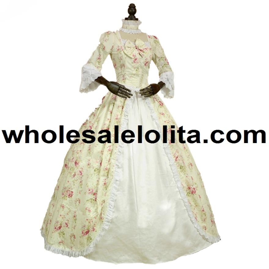 Top Sale Renaissance Colonial Gothic Period Dress Floral Print Gown ...