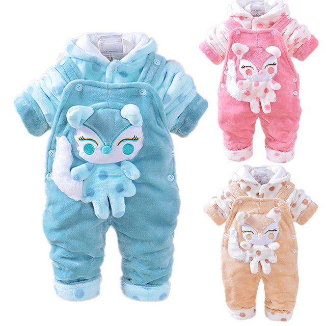New Style Baby Winter Clothing Sets 3D Animal Fox Hooded Coat+ Pant Jumpsuits Twinset Long Sleeve Velvet Thick Newborn Clothes