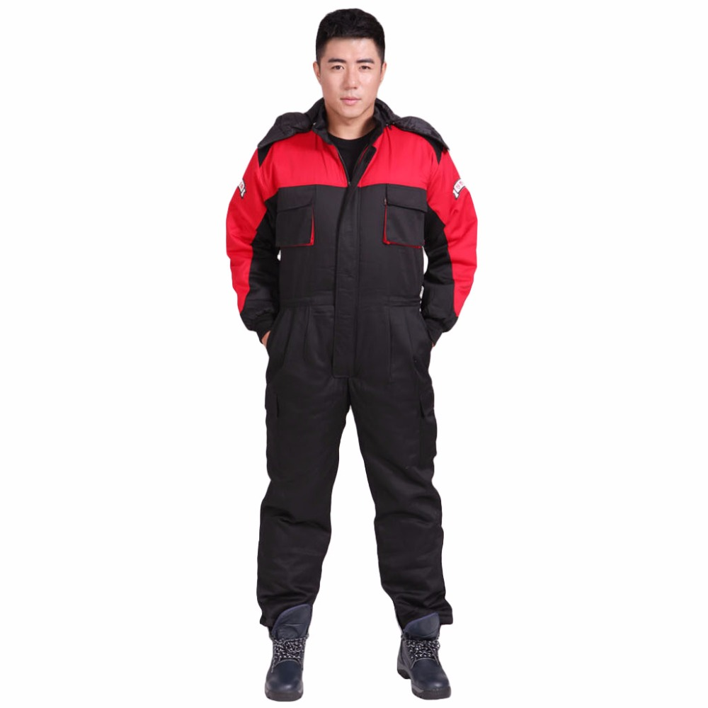 Men Work Clothing Winter Thick Warm Coveralls Cotton-padded Clothes Outdoor Fishing Warmer Safety Hooded overalls Plus Size 4XL перчатки 1azaliya перчатки
