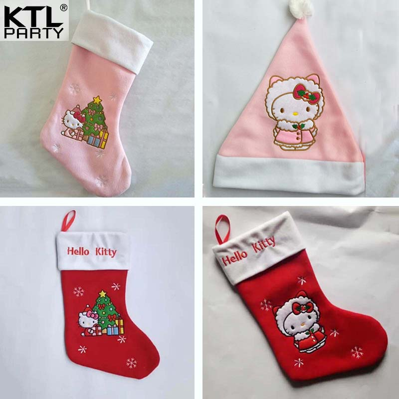 Hello kitty girl red pink Christmas hat stocking Children gift bag for children and adult 45cm length