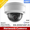 Free shipping DS-2CD2145F-IS same as english model DS-2CD2142FWD-IS H265 IP network dome poe cameras audio 4MP CCTV IPC