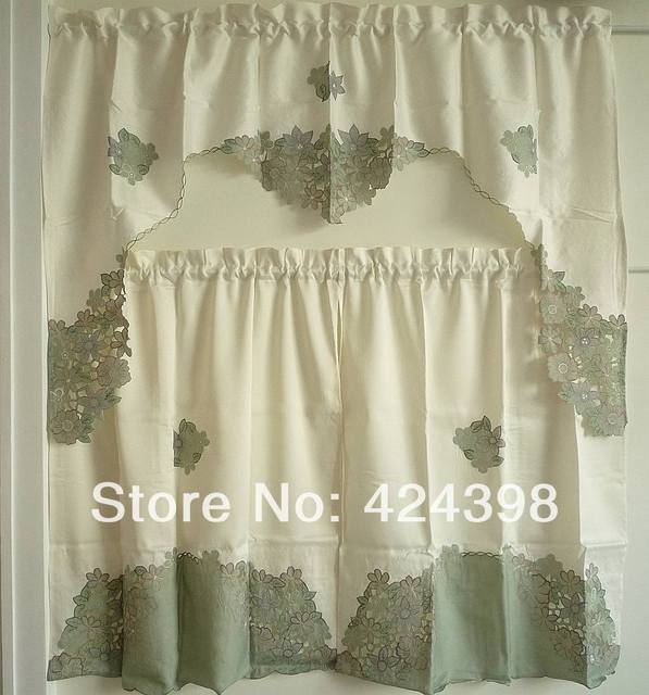 US $25.9 |simple and elegant kitchen curtains set of curtain embroidery  Flower fabric cabinet curtain coffee curtain American style-in Curtains  from ...