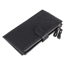 купить Weduoduo Genuine Leather Men Wallet New Clutch Wallet Brand Luxury Male Purse Double Zipper Wallets Coin Purse New Phone Pocket по цене 554.27 рублей