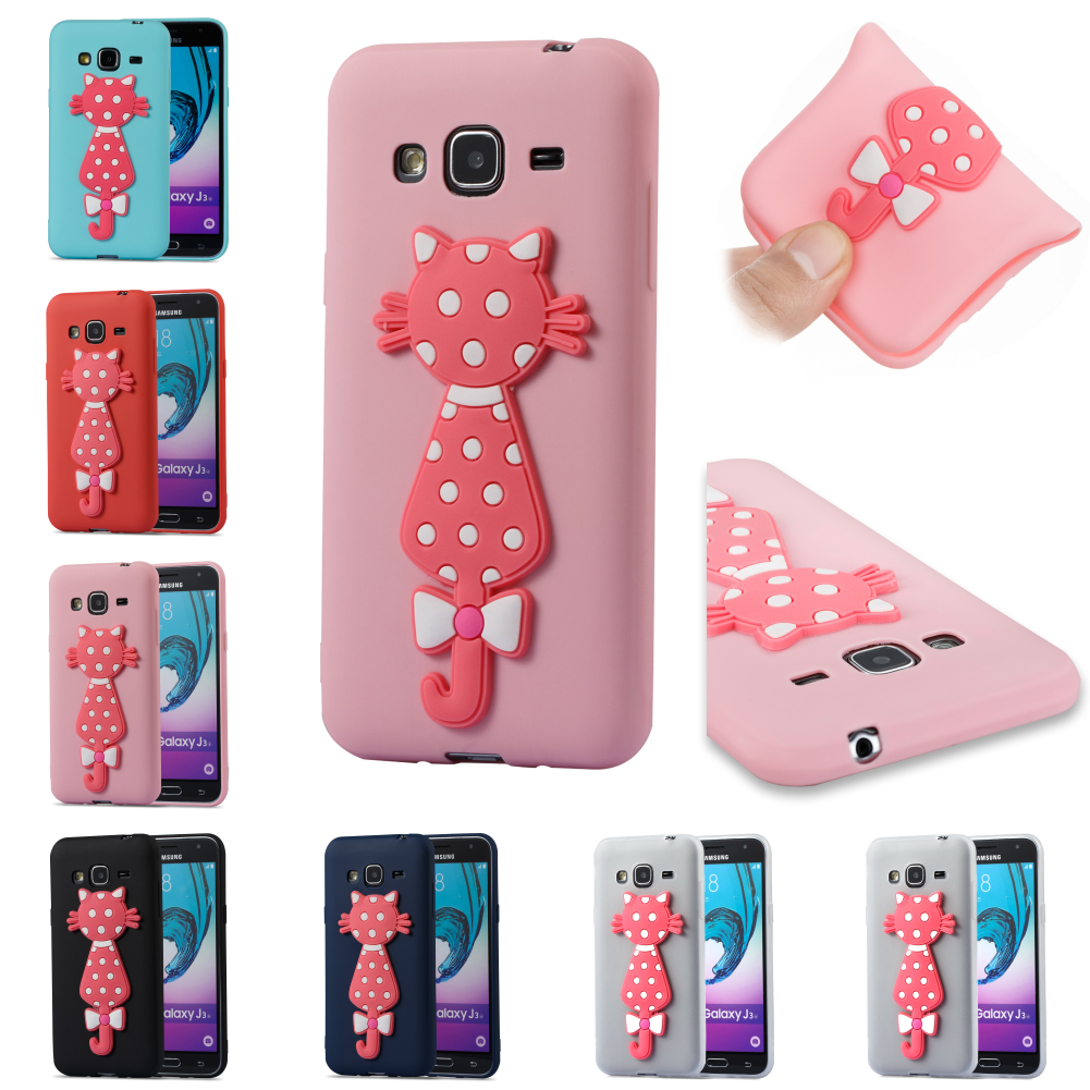 TPU 3D Cat Cartoon Cute Silicone Cubierta Phone Case Kryty Shell Cover For Samsung Sumsung Galaxy Galax J3 2016