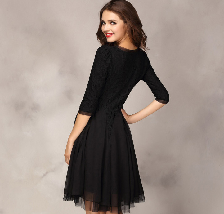 2cd8065dc8 Elegant New Round Neck Lace A line Dress Middle Sleeve Knee Length Chiffon  Embroidery Skater Dress S XL High Quality-in Dresses from Women s Clothing  on ...