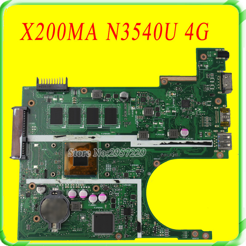 все цены на  FOR ASUS Motherboard F200MA F200M X200M X200MA rev2.1 Mainboard With N3540U 4G Memory Test 100% Work  онлайн