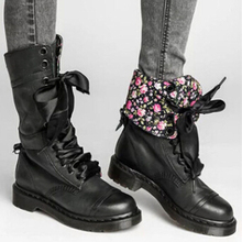 Floral Motocycle Booties Women Boots Female PU Leather Ankle