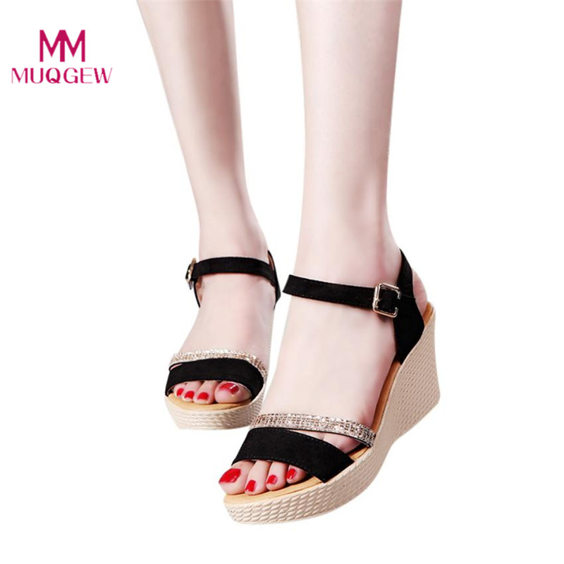 цена на Women Fish Mouth Platform High Heels Wedge Sandals Buckle Slope Sandals Small Fresh Indoor&Outdoor Women Casual Summer Shoes