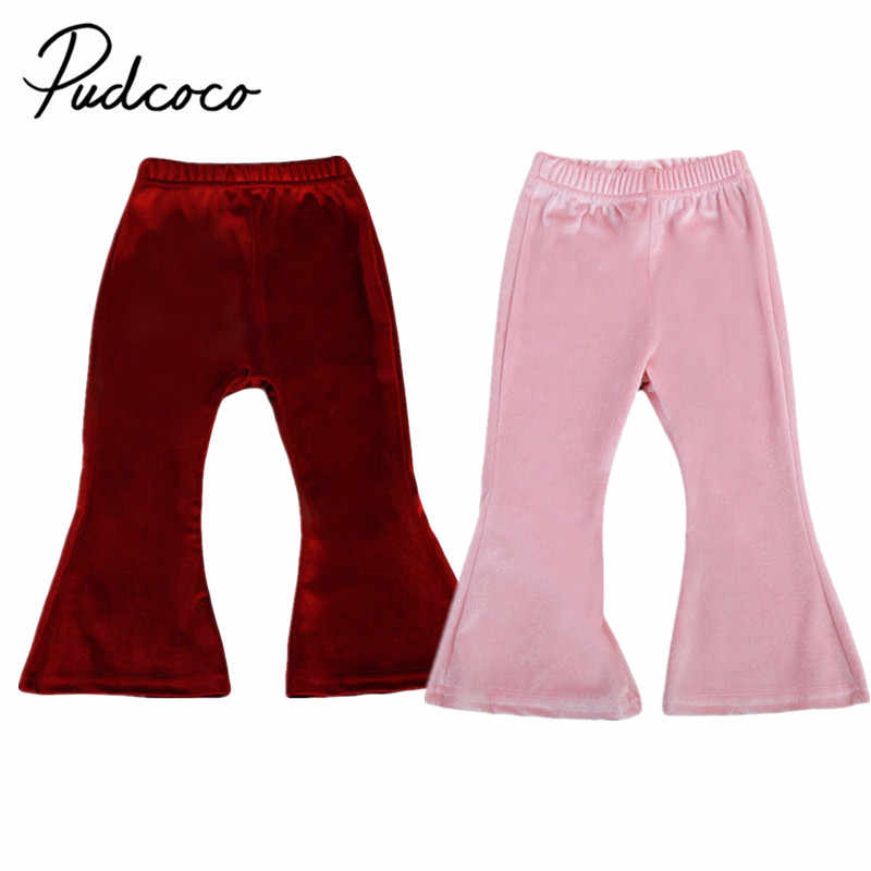 daa93387aba4a pudcoco 1-5Y Infant Baby Girl solid 2 colors pants Bell Bottom Wide Leg  Boho Pants Kid Pleuche Long Flare Trousers