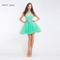 Green Mini Homecoming Dresses For Teen Girls O Neck Sleeveless Backless Simple Lace Crystal Ball Gowns