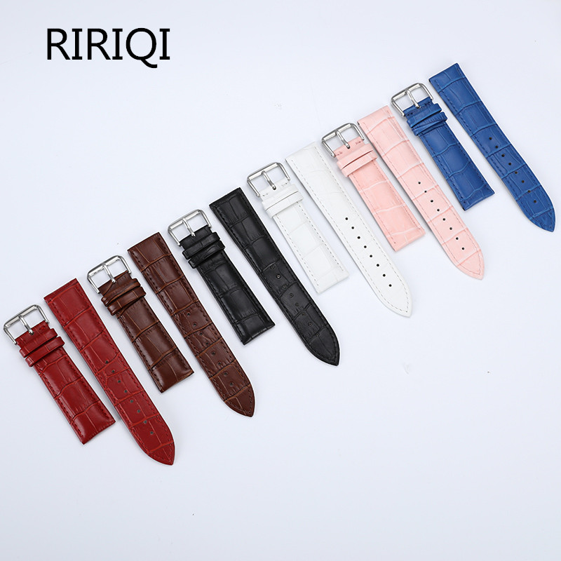 13 14 15 16 17 18 19 20 22 Mm Genuine Leather Watchband Watch Belt Strap Wristwatches Band Female Red White Black
