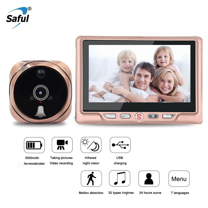 Saful 3000 мАч 4,3 ЖК-дисплей Экран цифровой двери Камера глазок Камера дверной звонок просмотра с видео Запись обнаружения движения для дома