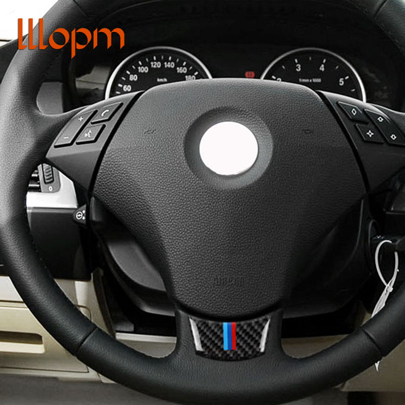 Carbon Fiber Steering Wheel Sticker M stripe Emblem 3D Car Sticker For bmw e60 e61 5 series 2004-2010 Car Styling Accessories image