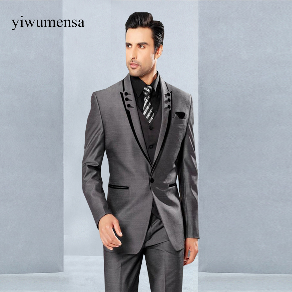 costume homme mariage wedding suits for men grey with black mens suits with pants custom made 3
