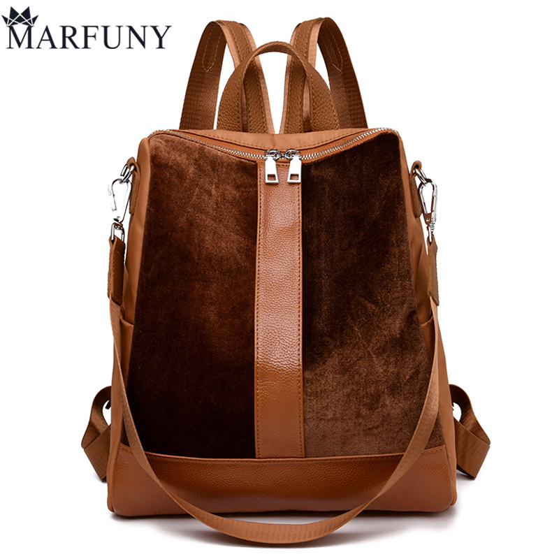MARFUNY Brand Vintage Women Backpack Velour Backpack Nylon School Backpacks For Teenage Girls Casual Large Capacity Shoulder Bag jmd backpacks for teenage girls women leather with headphone jack backpack school bag casual large capacity vintage laptop bag