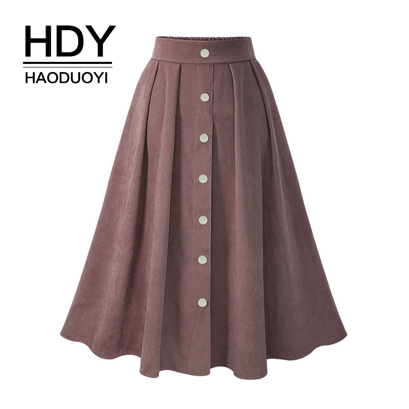 HDY Haoduoyi Pleated Skirts Button High Waist Elastic Mid Skirt Korean Style Women Skirts Fashion New Spring Summer Bottom