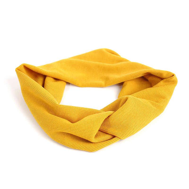 Женская Весенняя вязаная повязка на голову с узлом тюрбан для девочек широкий скрученный двухслойный эластичный тканевый ободок для волос аксессуары для волос повязка на голову