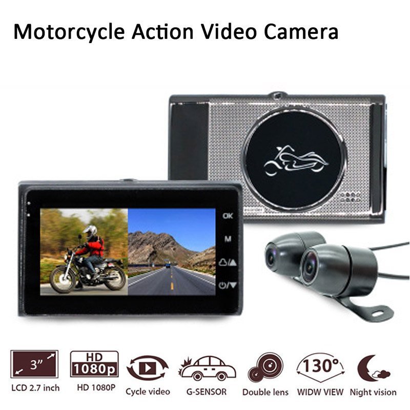 New Motorcycle Camera DVR MSTAR Full HD 1080P 3.0 TFT Recorder Dash Cam Dual Lens Waterproof Black Front Rear Recorder
