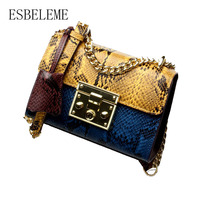Color Blocking Serpentine Genuine Leather Women Chain Bag For Female Embossed Cow Leather Stitching Shoulder Crossbody