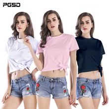 PGSD Summer Simple Fashion Pure Colored Women Clothes Bandage knotting round collar short sleeves Short T-shirt female Top Tee