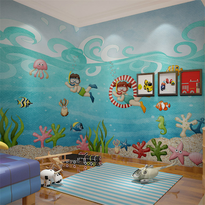 beibehang papel de parede Children swimming pool large mural childrens room background cartoon cute custom wallpapers mural
