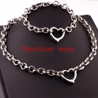 Romantic Anniversary Gift Jewery Sets 316L Stainless Steel High Polishing Silver Round Link With Heart Bracelets