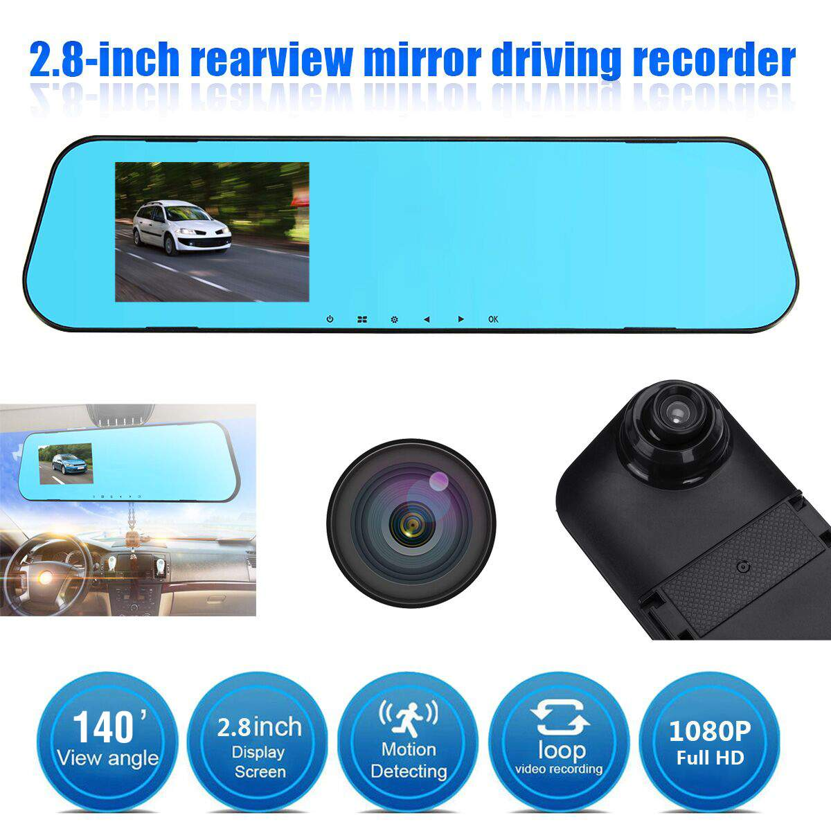 DVR Car-Dvr-Mirror Rearview-Dashcam Auto-Recorder Video Dual-Lens Full-Hd