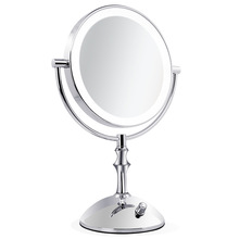 8 inch  desktop makeup mirror 2-Face metal mirror 10X magnifying  USB battery LED lamp  adjust the brightness