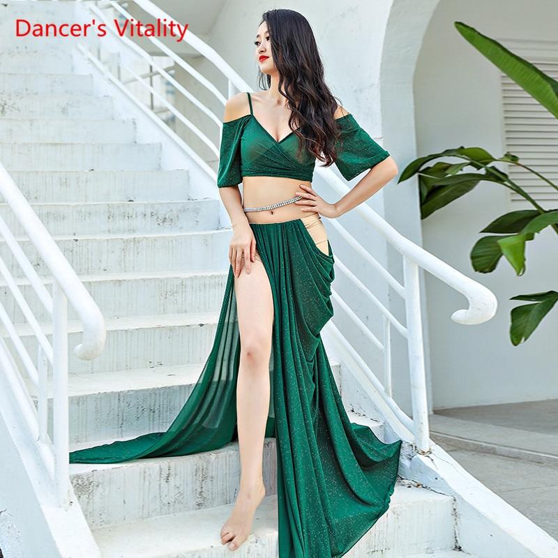 Ladies Suit Skirt Belly Dance Sexy Oriental Dance Mesh Split Long Skirt+Top 2pcs Belly Dance Set/Suit