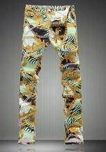 Мода Новинка Тигр Печати Мужчин Trusers Мода Тонкий Длинные Джинсы