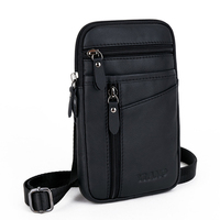 Men First Layer Cowhide Genuine Leather Messenger Bags Casual Crossbody Small Shoulder Bag Male Waist Hook