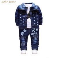 אלווה ZUVA ספורטיבית ילדי בני תינוק פעוט סטי בגדי ג 'ינס מעיל + חולצות + מכנסיים ג' ינס 3 יחידות/חליפת ילדי אימוניות Cyy008