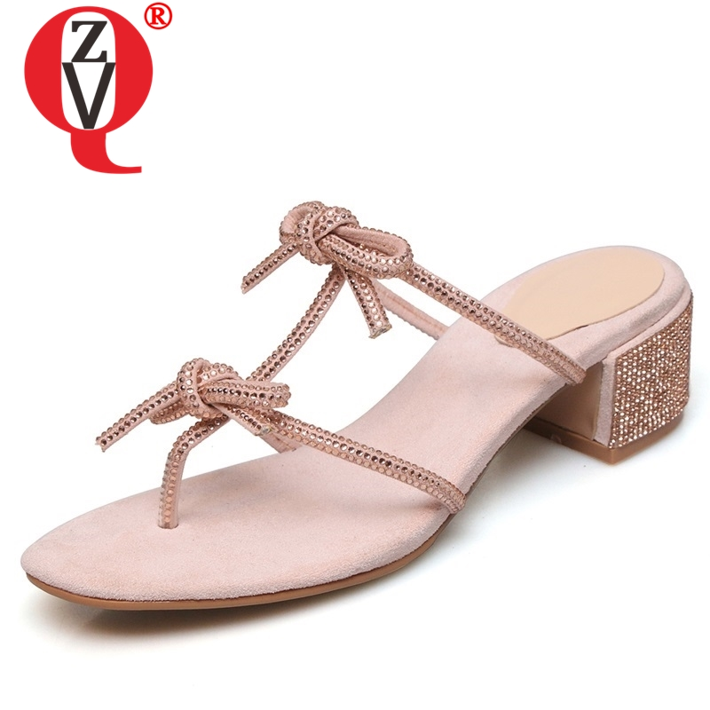 ZVQ shoes woman summer new fashion sweet bowtie crystal open toe woman slippers outside med square