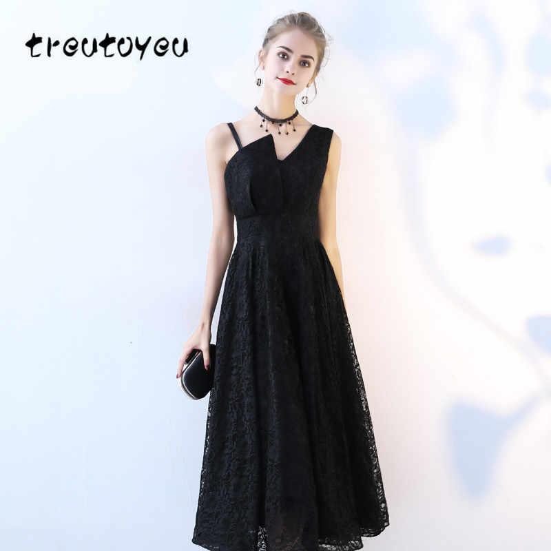 35a6b87ff7a Treutoyeu пикантные Элегантные платья без рукавов 2018 г. модные летние  черные однотонные красивые свадебные Женское