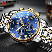 CARNAVAL de Luxo Multifuncional Tourbillon Relógio Mecânico Automático dos homens Top Marca relógio de aço Inoxidável À Prova D' Água Luminosa