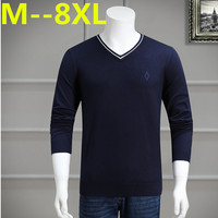 10XL 8XL 6XL 5XL 4XL 2017 Spring Mens Sweater Pullovers Simple Style Cotton Knitted V Neck