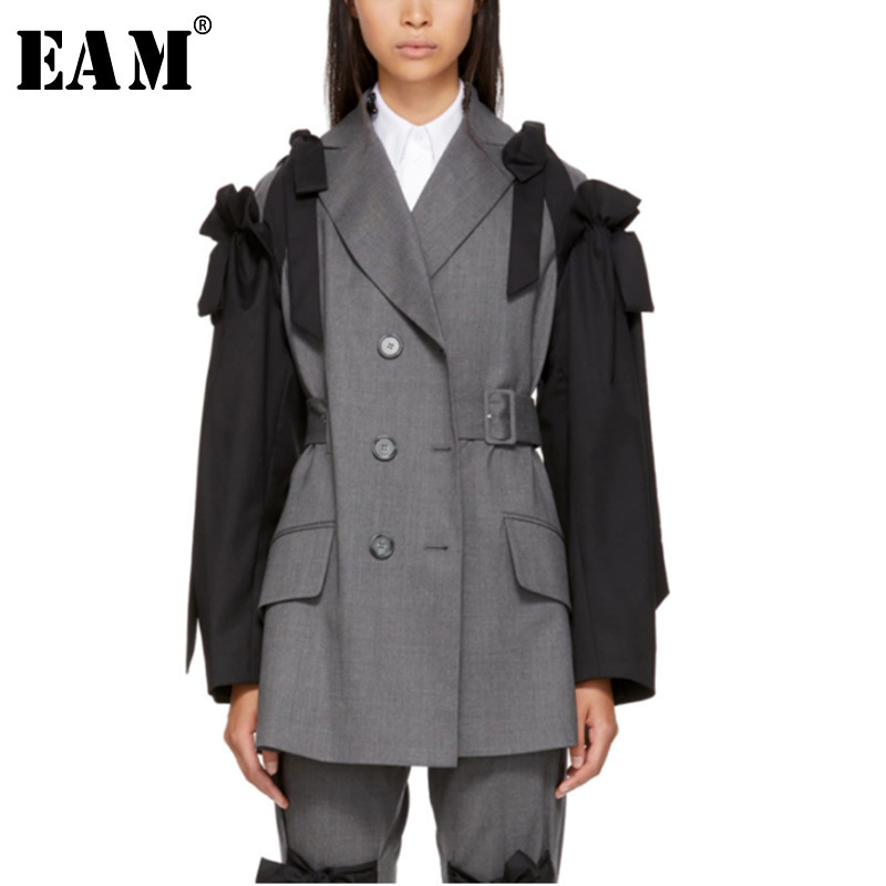 EAM 2019 Spring Woman Hit Color Long Sleeve Turn down Collar Single Breasted Pockets Spliced