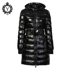 COUTUDI 2016 Длинные Женщины Clothing Зима Теплая Куртки Блестящий Сплошной Черный Парки Хлопок Пальто Женский Водонепроницаемый Ремень Куртка Пальто
