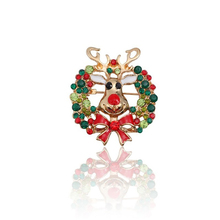 Fashion Personality Animal Christmas Brooch Pin Jewelry Hollow Colorful Rhinestone Wreath Bow Elk Red Deer Female