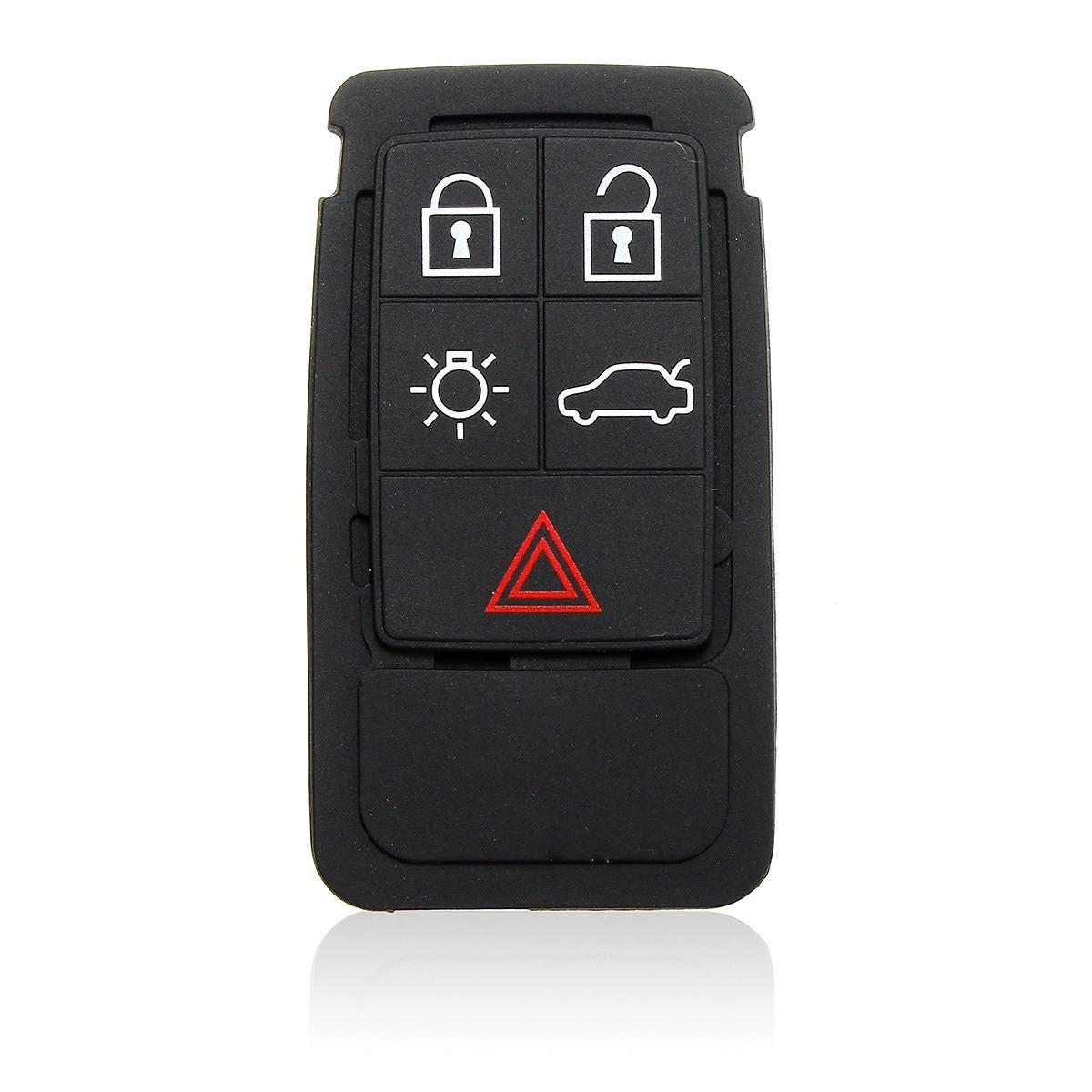 5 Tasten Remote Key Gummi Pad Ersatz Fob Fit Für Volvo S60 S80 Xc70 Xc90 Schwarz Gummi Matte Remote Key Fob Silikon Fall Halten Sie Die Ganze Zeit Fit